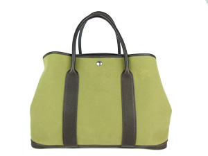 Hermes Garden Party in Dark Green Canvas with Brown Leather Trim