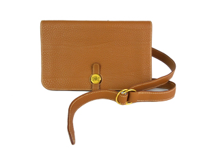 Hermes Brown Togo Dogon Wallet and Belt