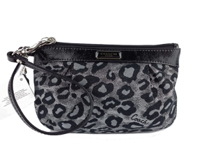 BRAND NEW Coach Signature Ocelot Metallic Medium Wristlet F48397