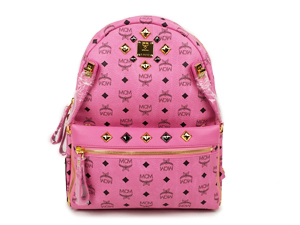 BRAND NEW MCM Dual Logo With Rivet Pink Backpack - Medium