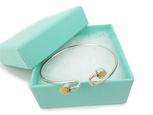 Tiffany & Co Silver Gold Double Heart Bangle