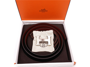 BRAND NEW Hermes Red Black Reversible Belt Kit w Silver Buckle
