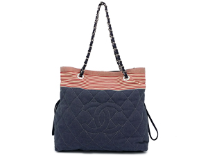 Chanel Blue/Red Stripe Denim Shoulder Bag