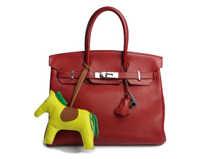 Hermes Rouge Clemence Birkin 30 With Palladium Hardware