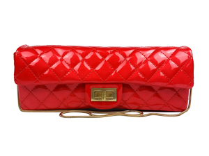 Chanel Red Patent Leather Reissue Flap Bag Purse Clutch Gold