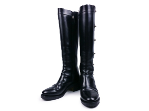 Chanel Black Calfskin Turnlock CC Knee Boots Size : 36 / 5