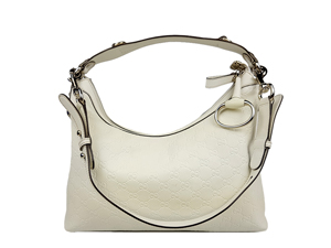 Gucci White Leather Icon Bit Hobo With Horsebit Detail D Ring