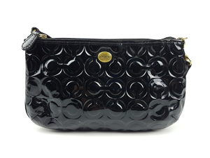 Coach Peyton Op Art Sig Embossed Patent Leather Large Wristlet F50539