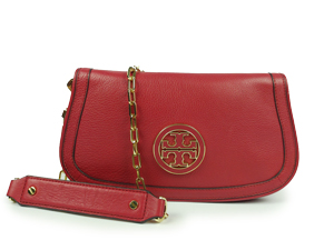 Tory Burch Red Amanda Logo Clutch Bag