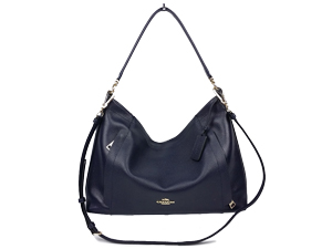 Coach Pebble Leather Navy Scout Hobo Bag 34312