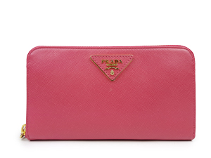 Prada Saffiano Metal Zip Around Wallet