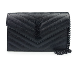 SOLD OUT BRAND NEW YSL Yves Saint Laurent Monogram Envelope Chain Wallet in Black