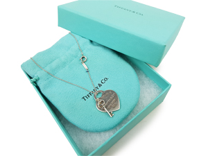 Tiffany & Co Heart Tag W/ Key Pendant Necklace