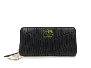 Coach Madison Gathered Leather Black Accordion Zip Around Wallet 44370