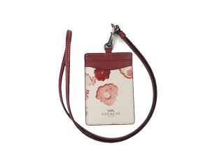 BRAND NEW Coach Chalk Red Halftone Floral ID Lanyard F39055