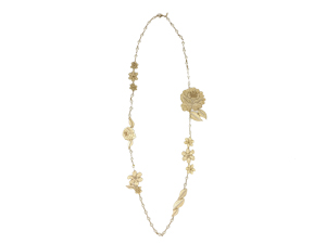 Chanel Gold Lace Flower Pearl Long Necklace