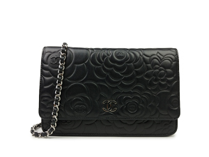 Chanel Black Camellia Wallet On Chain WOC WSH