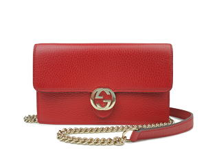 Gucci Interlocking G Red Leather Wallet On Chain