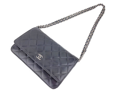 Chanel Grey Lambskin Wallet On Chain (WOC)