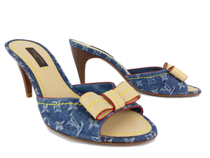 BRAND NEW Louis Vuitton Denim Bow Slides Sandals